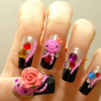 Japanese 3D nails, octopus, kawaii, squid, novelty, Japanese nail art, acrylic nails, nail gem, tentacles, cute nails, Harajuku, pirate,