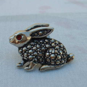 Avon Rabbit Lapel Pin Tie Tac Faux Marcasites Red Rhinestone Eye Figural Jewelry