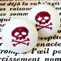 burgandy skull and crossbones little stud earrings