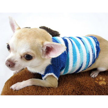 Blue Stripes Chihuahua Clothes Cotton Dog Clothes Pet Clothing Handmade Crochet DK880 Myknitt - free shipping