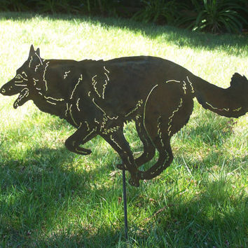 German Shepherd  garden stake memorial pet marker yard art x-mas gift