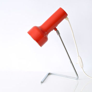 RED TABLE LAMP, 1970s Angle Adjustable Spot Lamp, European Desk Light, Bright Happy Decor, Retro, Modern Desk Lamp, Perfect working order