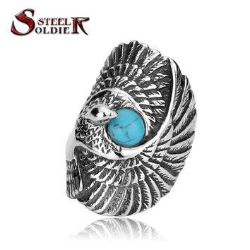 Steel soldier top quality and popular long eagle bird ring for men middle finger stainless steel personality jewelry BR8-144