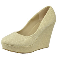 Womens Platform Shoes Glitter Accent Closed Toe Slip On Wedges Gold SZ