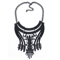 Black Gunmetal Queen Fashion Chunky Statement Bib