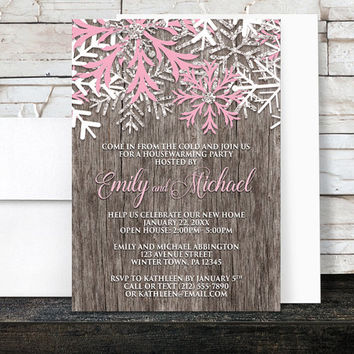 Winter Housewarming Invitations - Rustic Winter Wood Pink Snowflake - Country Snowflake Party - Printed Invitations