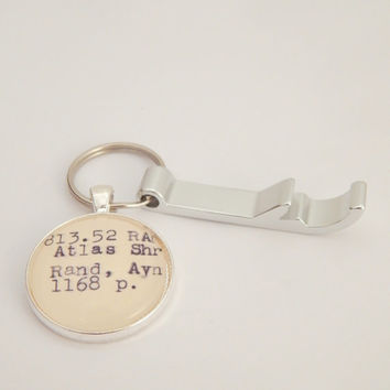 Ayn Rand keychain, Atlas Shrugged book key ring, Ayn Rand book gift, philosophy gift, unique gift for dad, masculine accessory, libertarian