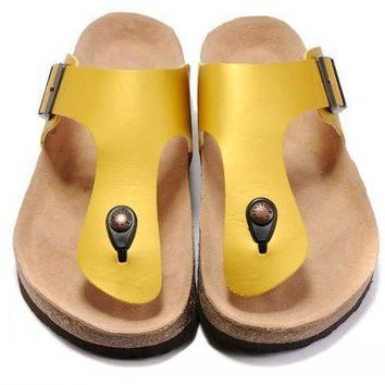 PEAP 2018 Birkenstock Woman Men Fashion Buckle Slipper Golden Sandals