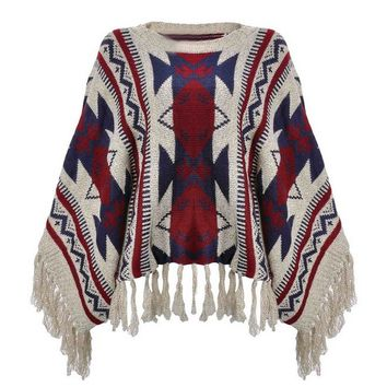 Comfortable Boho Geometric Pullover Fringe Aztec Cape Sweater