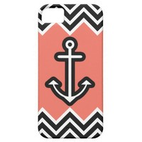 Coral Chevron Nautical iPhone 5 Cases from Zazzle.com