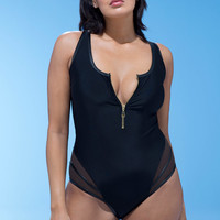 GabiFresh D/DD + E/F Midnight Zipper Swimsuit