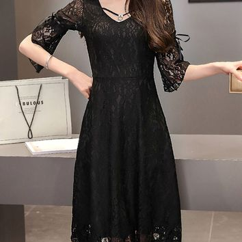 Casual Bell Sleeve V-Neck Hollow Out Plain Lace Skater Dress