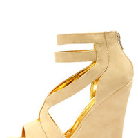 Mona Mia Merce Nude Strappy Platform Wedges