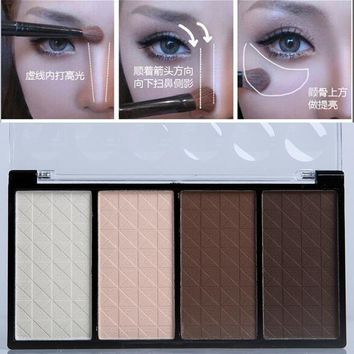 2pcs/set professional women makeup powder blush palette 4 colors blush bronzer Contour Palette LM021