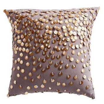 Large Sequined Gray Pillow