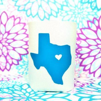TEXAS HEART Koozie / Coolie / Coozie / Cozy / Huggy