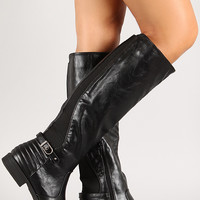 Quilted Panel Knee High Riding Boot