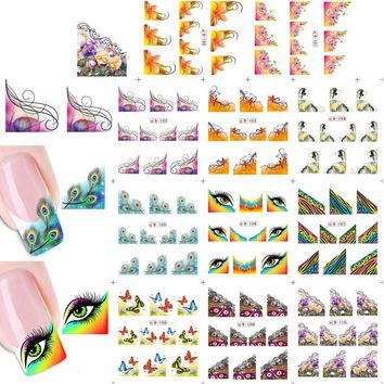 1sets 11 designs New Charm Women Beauty Sexy Nail Art French Tips Stickers Decals Water Transfer Wraps Decorations B100-110