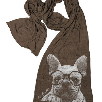 FRENCH BULLDOG Scarf American Apparel Tri-Blend Hand Screen Print