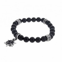 Buddha Bead Bracelet with Silver Star of David Charm