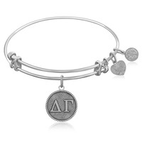 Expandable Bangle in White Tone Brass with Delta Gamma Symbol