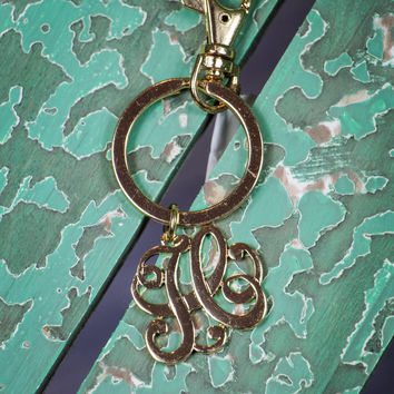 Initial H Keychain in Gold