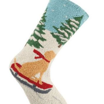 Christmas Sledding Dog Hook Stocking
