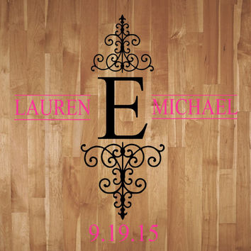 Wedding Monogram Dance Floor LARGE Decal- Reception- Vinyl Wall Decal- Lettering Decor-Wedding Decor- Anniversary