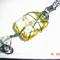 Bold yellow necklace black chain and embellishments gift woman teen OOAKHandmade Jewelry