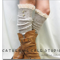 Oatmeal Nordic Lace Boot Sock Something really special for your tall boots tweed cable knit long knee socks / 3 colors/ made in USA