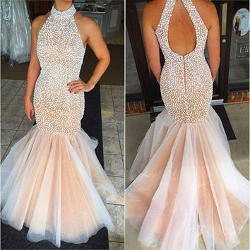High Neck Pearl Beaded Mermaid Prom Dress for Graduation Dress Tulle Mermaid Pageant Gowns for Women vestidos de gala Prom Dress