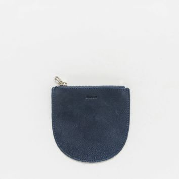 Small Leather Pocket Pouch Navy Nubuck