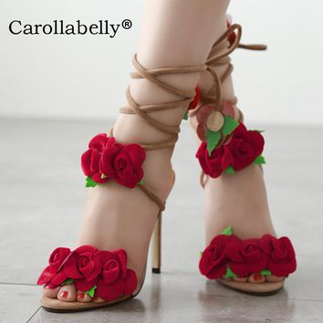 2017 New Look Sandal Shoes Women Ladies Strappy Rose High Heels Flowers Size35-40 Apricot