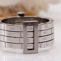Men's Silver Numbered Spinner Ring - RIN-3000