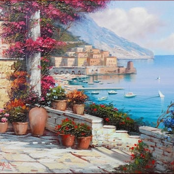 Italian painting Amalfi seascape original oil on canvas of Ernesto Di Michele Italy - Mediterranean Sea