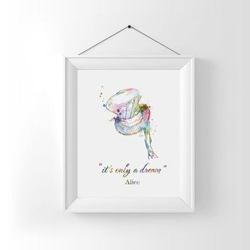Alice In Wonderland Wall Art Nursery Decor It's Only A Dream Alice Quotes Watercolor Wall Art Print Nursery Art Gift AP060