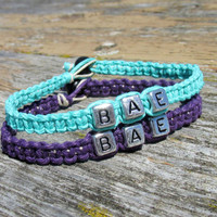 Teal and Royal Purple BAE Bracelets, Before Anyone Else, Handmade Hemp Jewelry for Couples