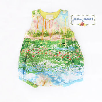 Baby Romper, Bubble Romper, Baby Girl Clothing, Infant Girl Clothes, Baby Girl Outfit, Summer Baby Clothes, Monet Fabric, Size 6-12 mos