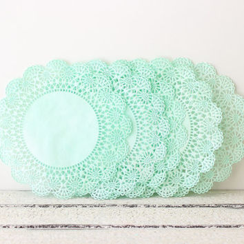 Paper Doilies Mint Green, 8 Inch French Lace Doilies, Mint Wedding Decoration, Vintage Wedding, Lace Doilies, Bridal Showers, Baby Shower