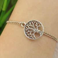 Bracelet--tree of life bracelet,antique silver charm bracelet,alloy chain