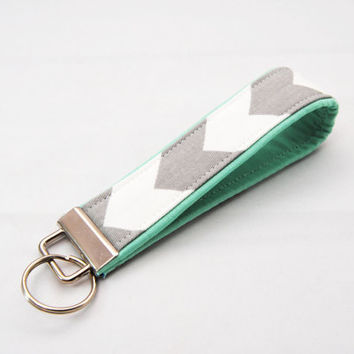 Gray chevron Key fob with a mint green accent, jade, pastel, key chain, lanyard, wristlet