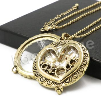 Antique Love is Complicated Chain Magnifying Glass Locket Pendant Necklace