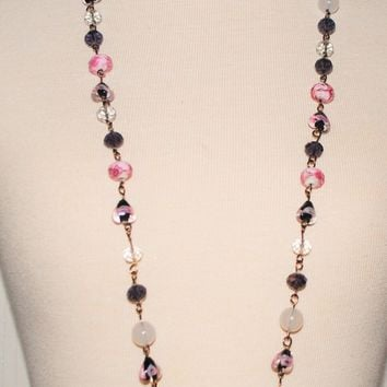 Wire Hand Crafted - Pink and Purple lampwork Bead - Chain Link  -Multi Beads Women's Necklace