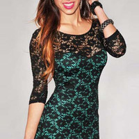 Half Sleeve Crochet Lace Bodycon Mini Dress
