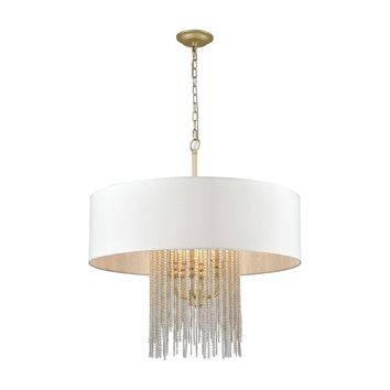 Crystal Rain 6-Light Chandelier in Antique Silver with White Linen Shade