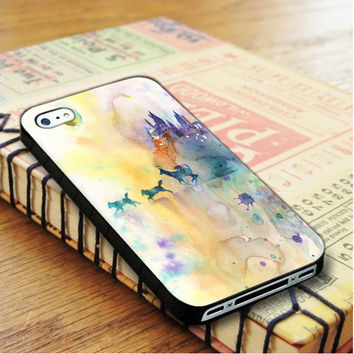 Watercolor Harry Potter The Deathly Hallows Gryffindor Slytherin Hufflepuff Ravenclaw iPhone 4 | iPhone 4S Case