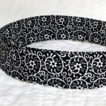 Classic Black & White Fabric Headband - Black White Cotton - Floral Pattern