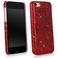 BoxWave Glamour & Glitz Apple iPhone 5c Case - Slim Snap-On Glitter Case, Fun Colorful Sparkle Case for your Apple iPhone 5c! - Apple iPhone 5c Cases and Covers (Ruby)
