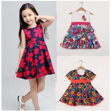 12M to 5T baby & kids girls summer cotton flower print princess party dresses children summer casual cute bow flare dress