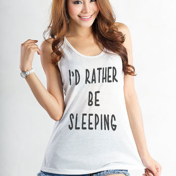 Id rather be sleeping TShirt Tank Tops for Women Nap Queen White Racerback Workout Tank Lazy Dope Teens Girls Instagram Tumblr Blogger Gifts